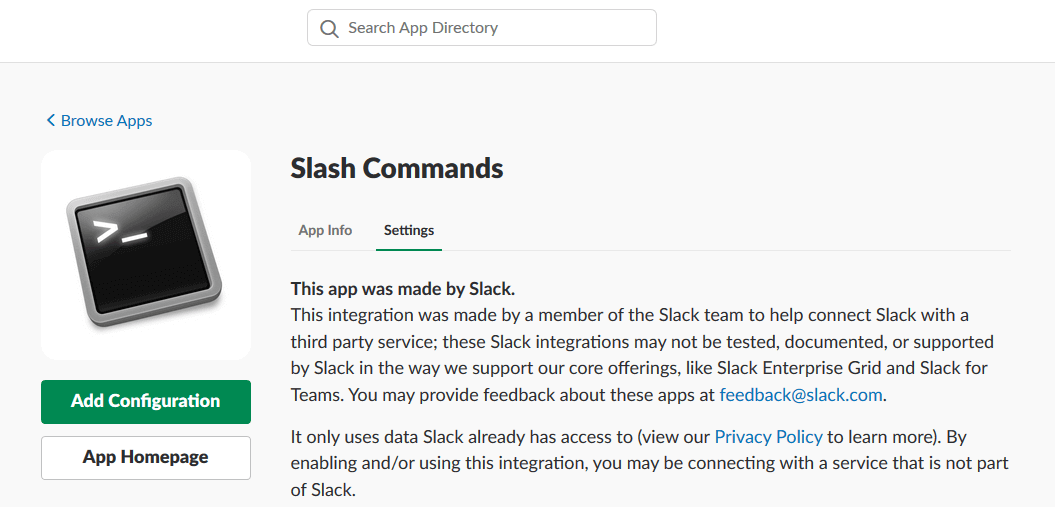 a screen shot of the slack UI for adding a slash command